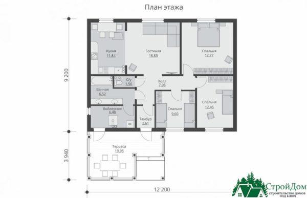 proekt odnoetazhnogo doma SD 168 planirovka 1 etazha 1 6