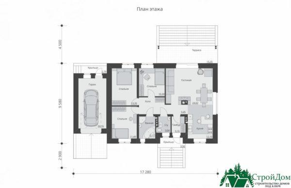 proekt odnoetazhnogo doma SD 293 planirovka 1 etazha 1 9