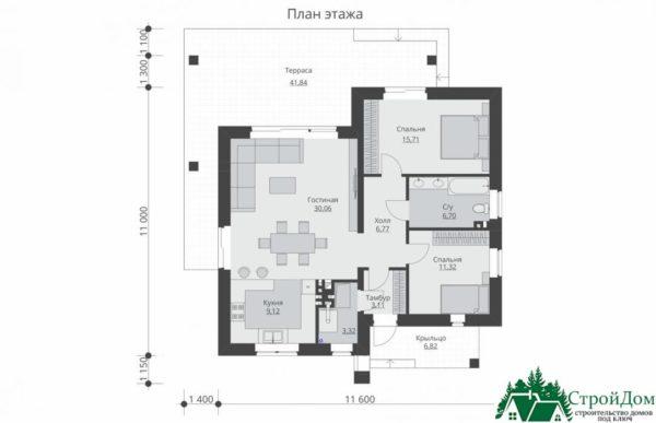 proekt odnoetazhnogo doma SD 325 planirovka 1 etazha 1 2