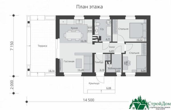 Проект одноэтажного дома SD-350 планировка 1 этажа 1-15