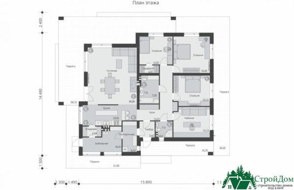 Проект одноэтажного дома SD-379 планировка 1 этажа 1-14