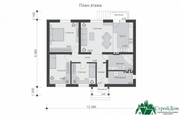proekt odnoetazhnogo doma SD 417 planirovka 1 etazha 1 3