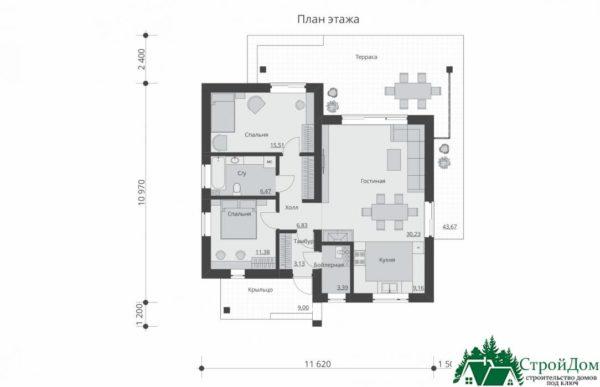 proekt odnoetazhnogo doma SD 450 planirovka 1 etazha 1 11