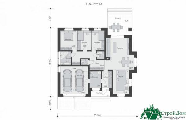 proekt odnoetazhnogo doma SD 602 planirovka 1 etazha 1 7