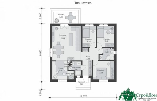 proekt odnoetazhnogo doma SD 653 planirovka 1 etazha 1 5