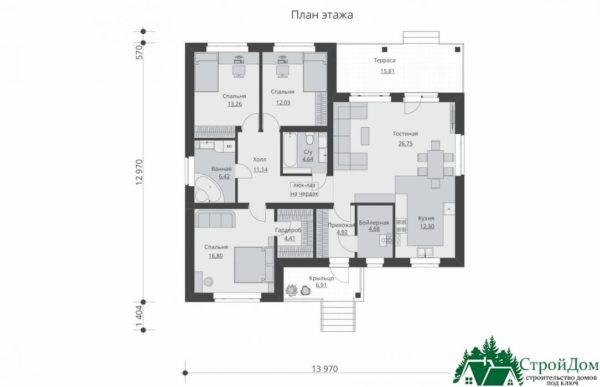proekt odnoetazhnogo doma SD 661 planirovka 1 etazha 1 12