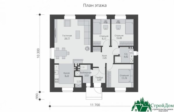 proekt odnoetazhnogo doma SD 750 planirovka 1 etazha 1