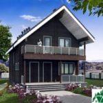 Одноэтажный дом с мансардой, террасой и балконом SD-461 Вид1