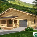 Проект деревянного дома с террасами и гаражом SD-131 Вид2