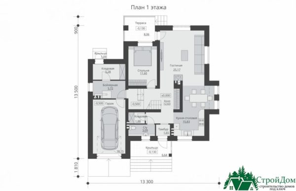 Проект дома с мансардой SD 197 план 1 этажа 8