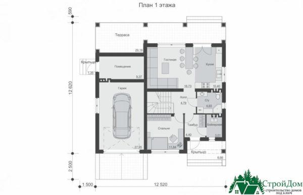 Проект дома с мансардой SD 227 план 1 этажа 1