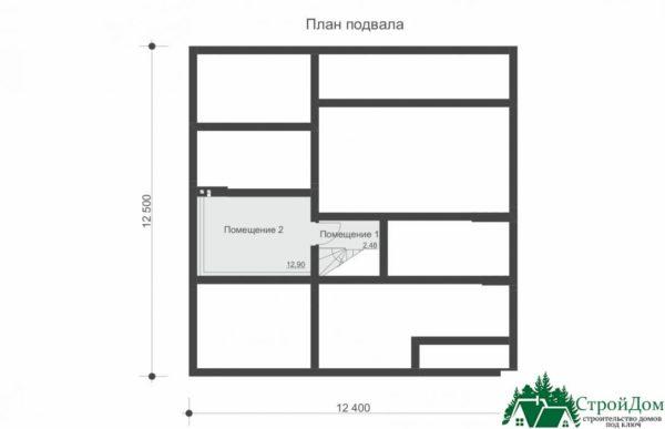 Проект дома с мансардой SD 227 план цоколя