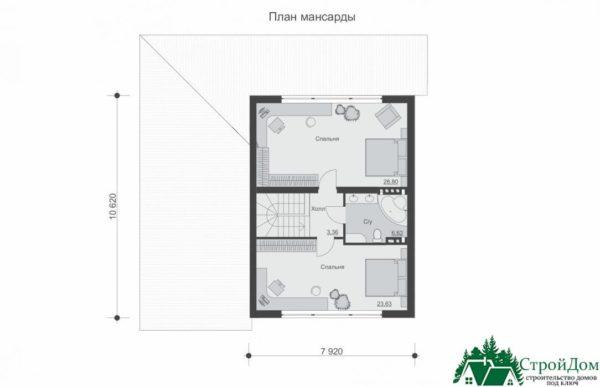 Проект дома с мансардой SD 227 план мансарды 1