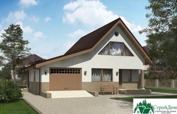 Проект дома с мансардой SD 227 вид 2 1