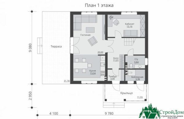 Проект дома с мансардой SD 230 план 1 этажа 15