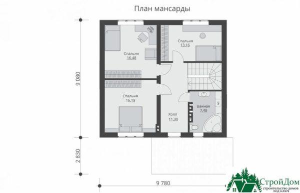 Проект дома с мансардой SD 230 план мансарды 15