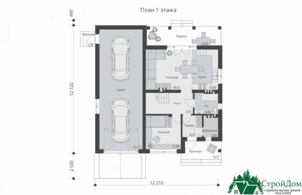 Проект дома с мансардой SD 364 план 1 этажа 11