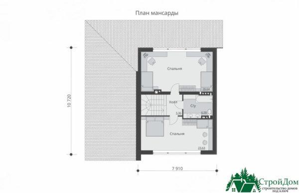 Проект дома с мансардой SD 364 план мансарды 11
