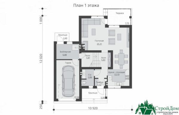 Проект дома с мансардой SD 375 план 1 этажа 6
