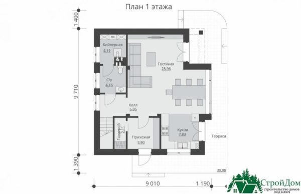 Проект дома с мансардой SD 429 план 1 этажа 2