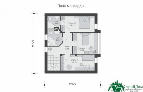 Проект дома с мансардой SD 429 план мансарды 2