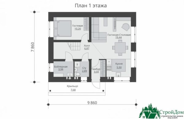 Проект дома с мансардой SD 431 план 1 этажа 14