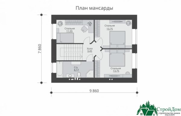 Проект дома с мансардой SD 431 план мансарды 14