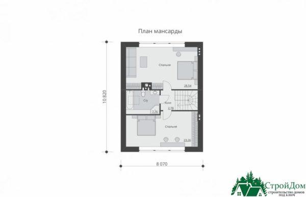 Проект дома с мансардой SD 439 план мансарды 7