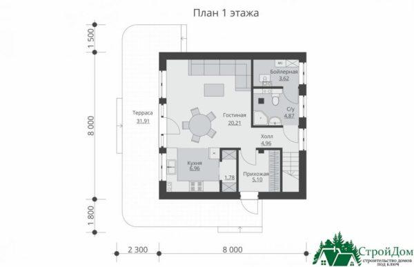 Проект дома с мансардой SD 512 etag1