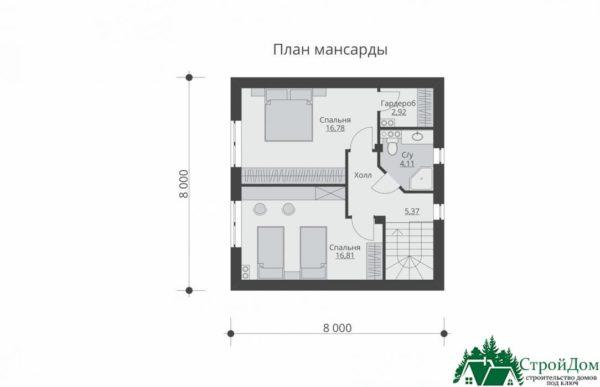 Проект дома с мансардой SD 512 mansarda
