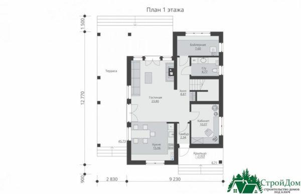 Проект дома с мансардой SD 539 план 1 этажа 10