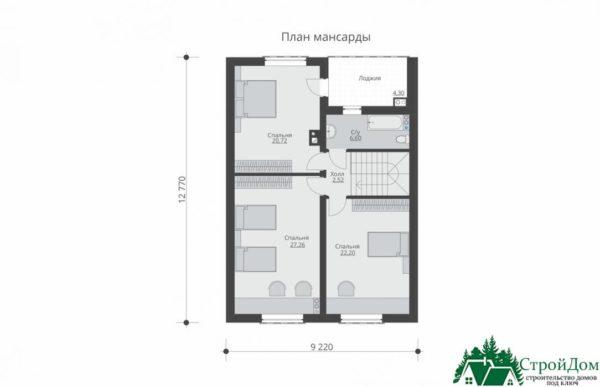 Проект дома с мансардой SD 539 план мансарды 10