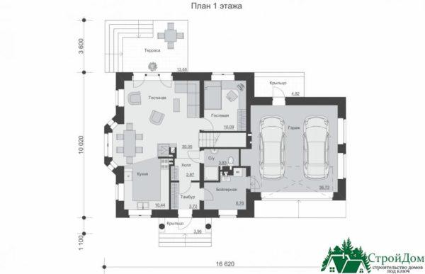 Проект дома с мансардой SD 585 план 1 этажа 3
