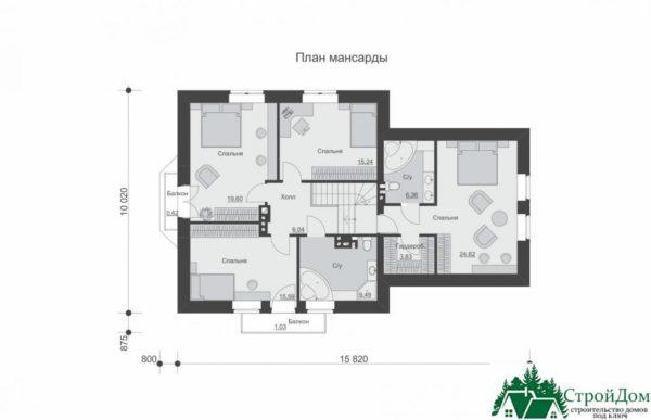 Проект дома с мансардой SD 585 план мансарды 3
