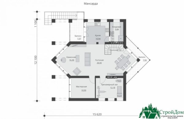 Проект дома с мансардой SD 589 план мансарды 12