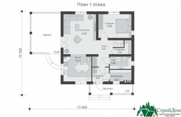Проект дома с мансардой SD 592 план 1 этажа 4