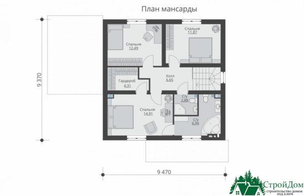 Проект дома с мансардой SD 592 план мансарды 4