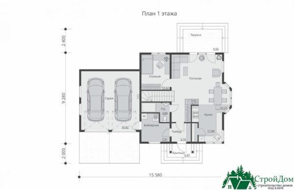 Проект дома с мансардой SD 609 план 1 этажа 9