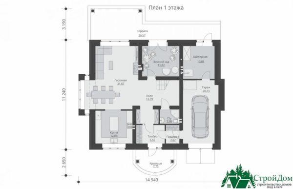Проект дома с мансардой SD 913 план 1 этажа 16
