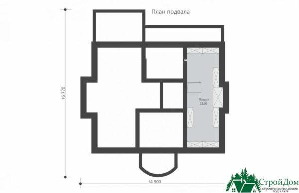 Проект дома с мансардой SD 913 план цоколя  2