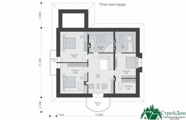Проект дома с мансардой SD 913 план мансарды 16