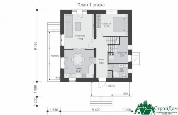 проект двухъэтажного дома 108 план 1 этажа 5