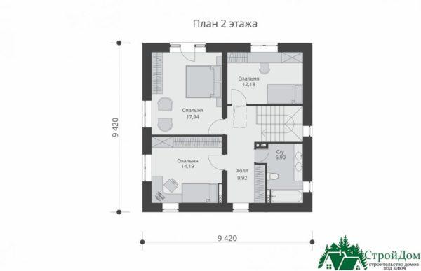 проект двухъэтажного дома 108 план 2 этажа 5