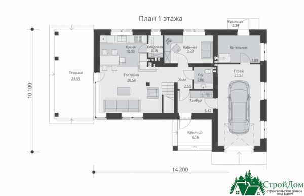 проект двухъэтажного дома 136 план 1 этажа 11