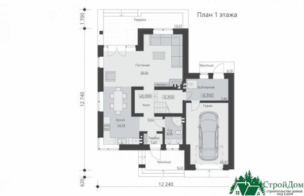 проект двухъэтажного дома 158 план 1 этажа