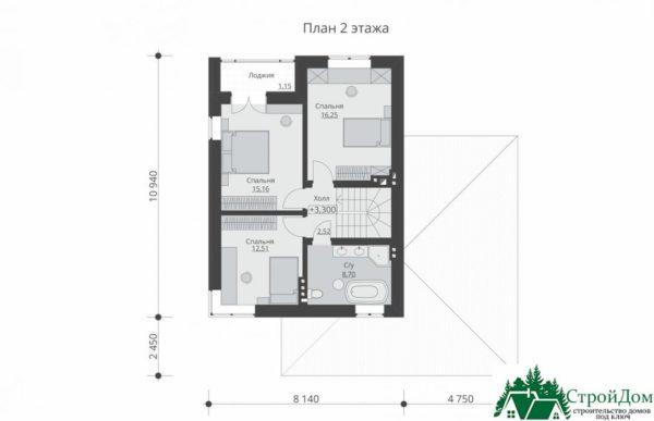 проект двухъэтажного дома 158 план 2 этажа