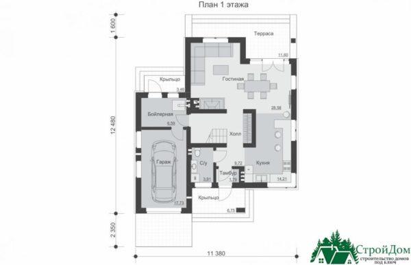 проект двухъэтажного дома 195 план 1 этажа 7
