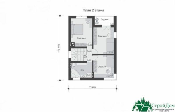 проект двухъэтажного дома 195 план 2 этажа 7