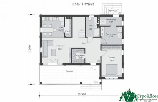 проект двухъэтажного дома 264 план 1 этажа 1