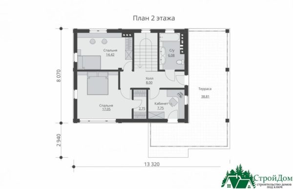 проект двухъэтажного дома 264 план 2 этажа 1